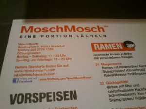 The MoschMosch menu.