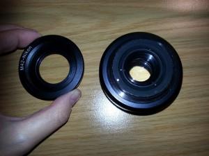 Mein Meyer-Görlitz Domiplan mit M42-auf-Nikon-F-Bayonett-Adapter.