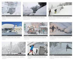 Google-Bildersuche nach Schnee Österreich.