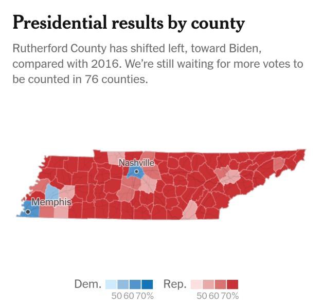 Karte von Tennessee, alles ist rot außer den großen Städten.